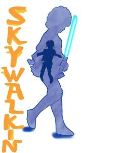 Luke Skywalker outline holding a light saber with Miguel image inside.