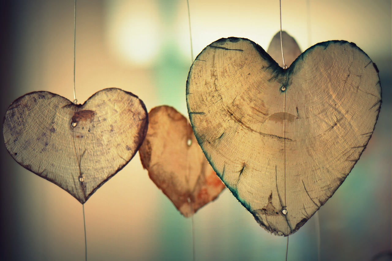 Wooden hearts hanging