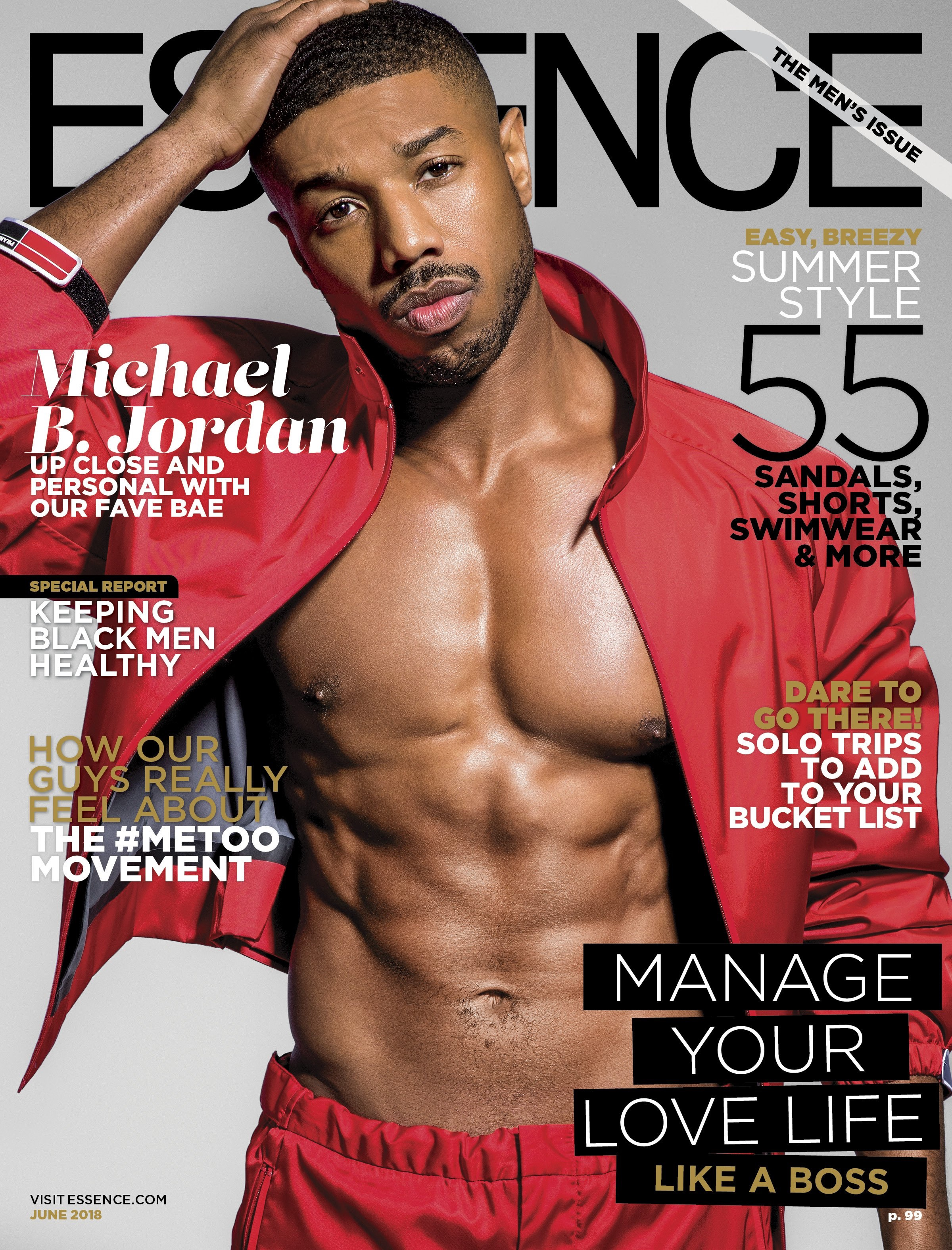 Essence cover with Michael B. Jordan wearing red track suit shirtless