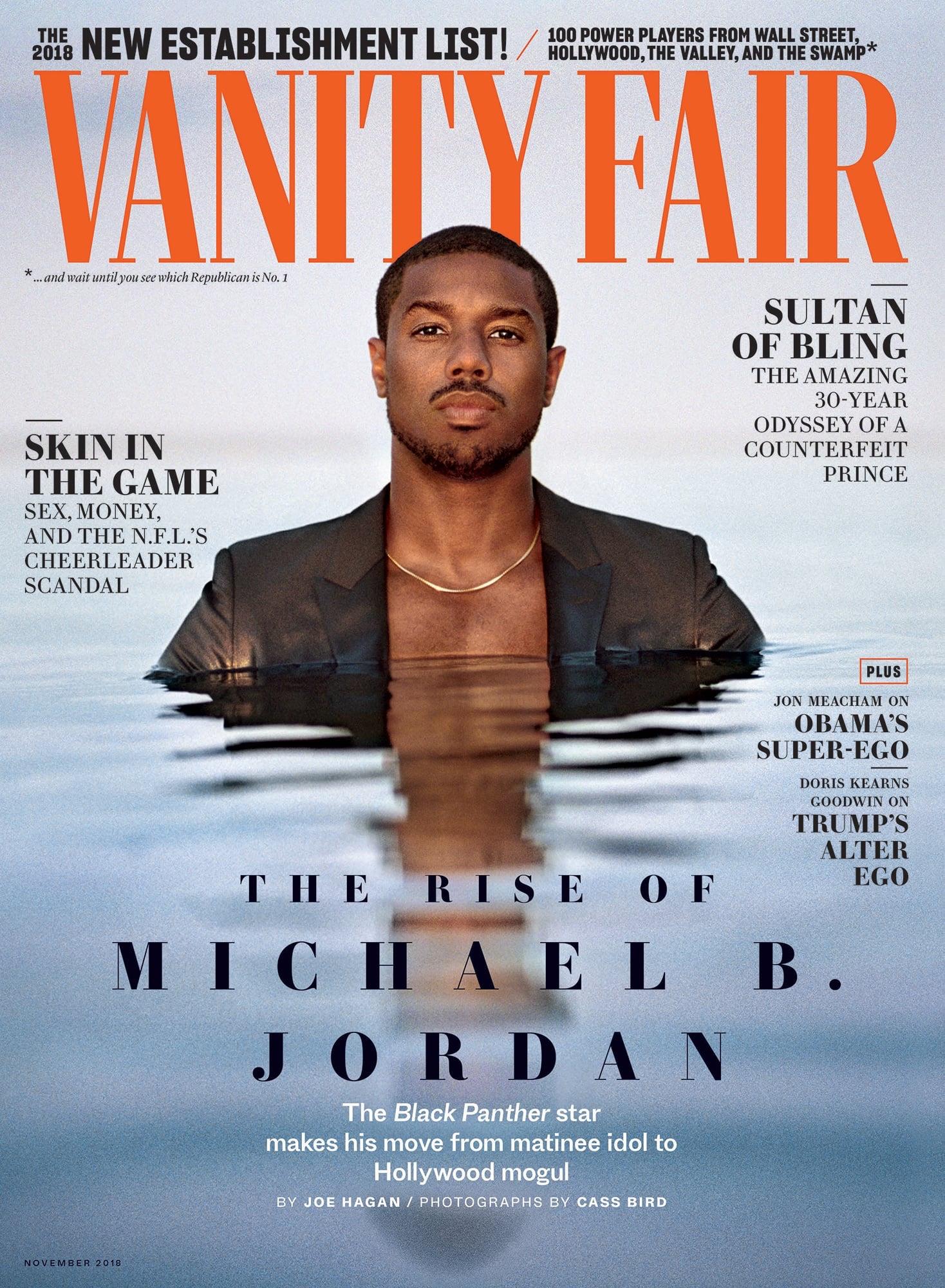 Vanity Fair cover with Michael B. Jordan in a black suit jacket in water at shoulder height