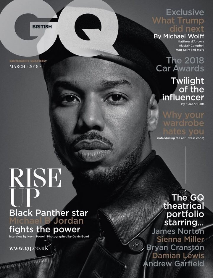 GQ cover with Michael B. Jordan in leather hat and jacket
