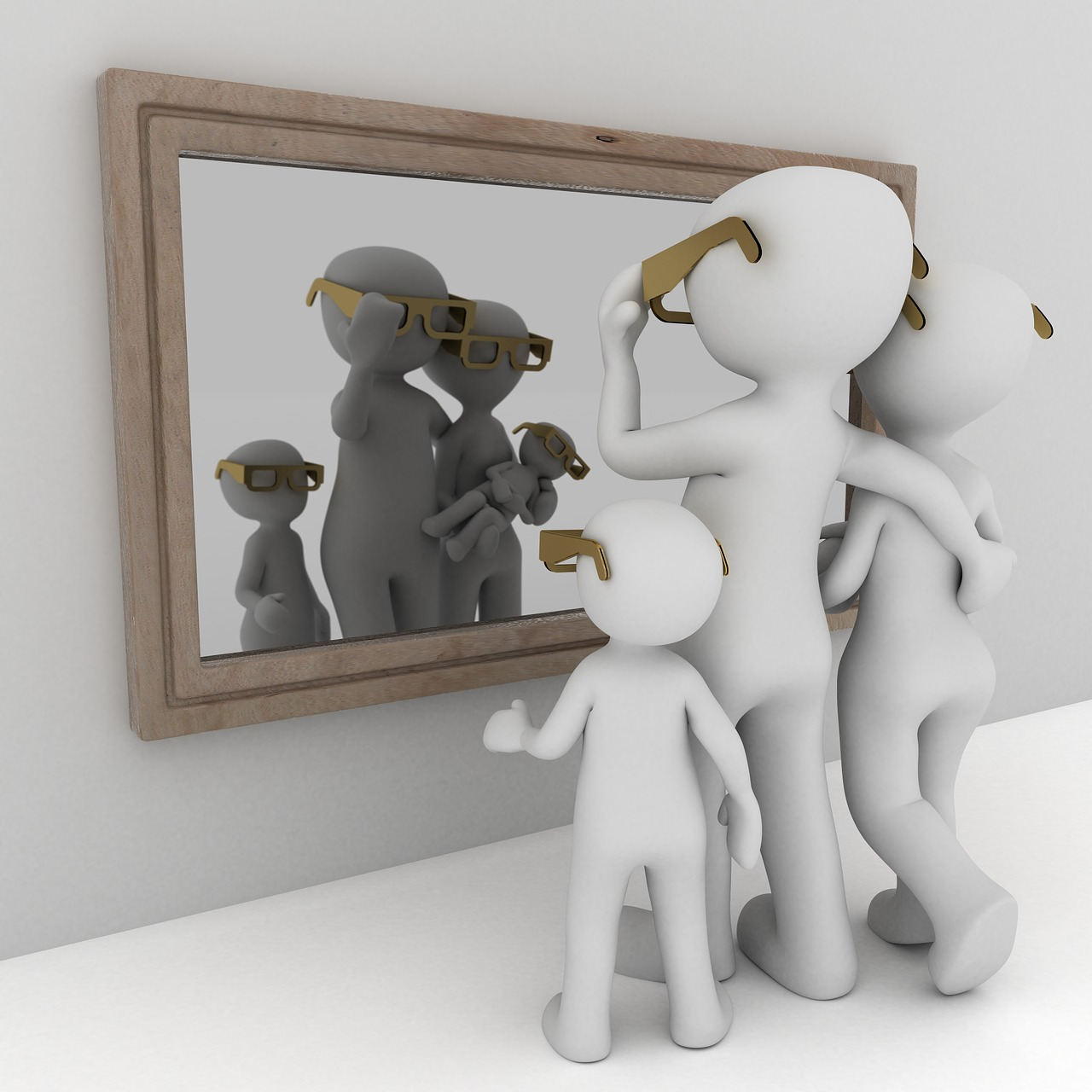 Image of a family of stick figures looking at themselves in the mirror