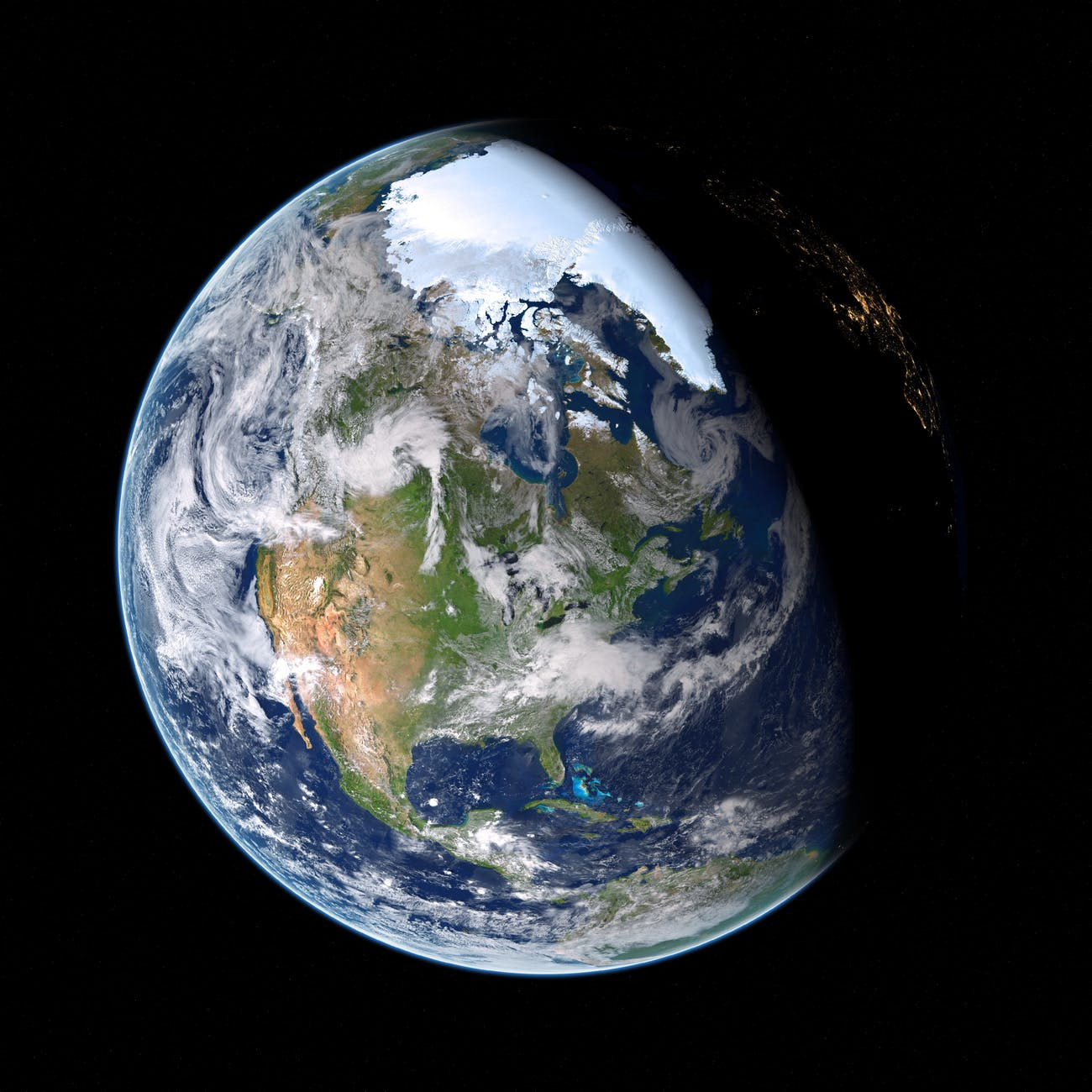 Planet earth is pictured on a black background