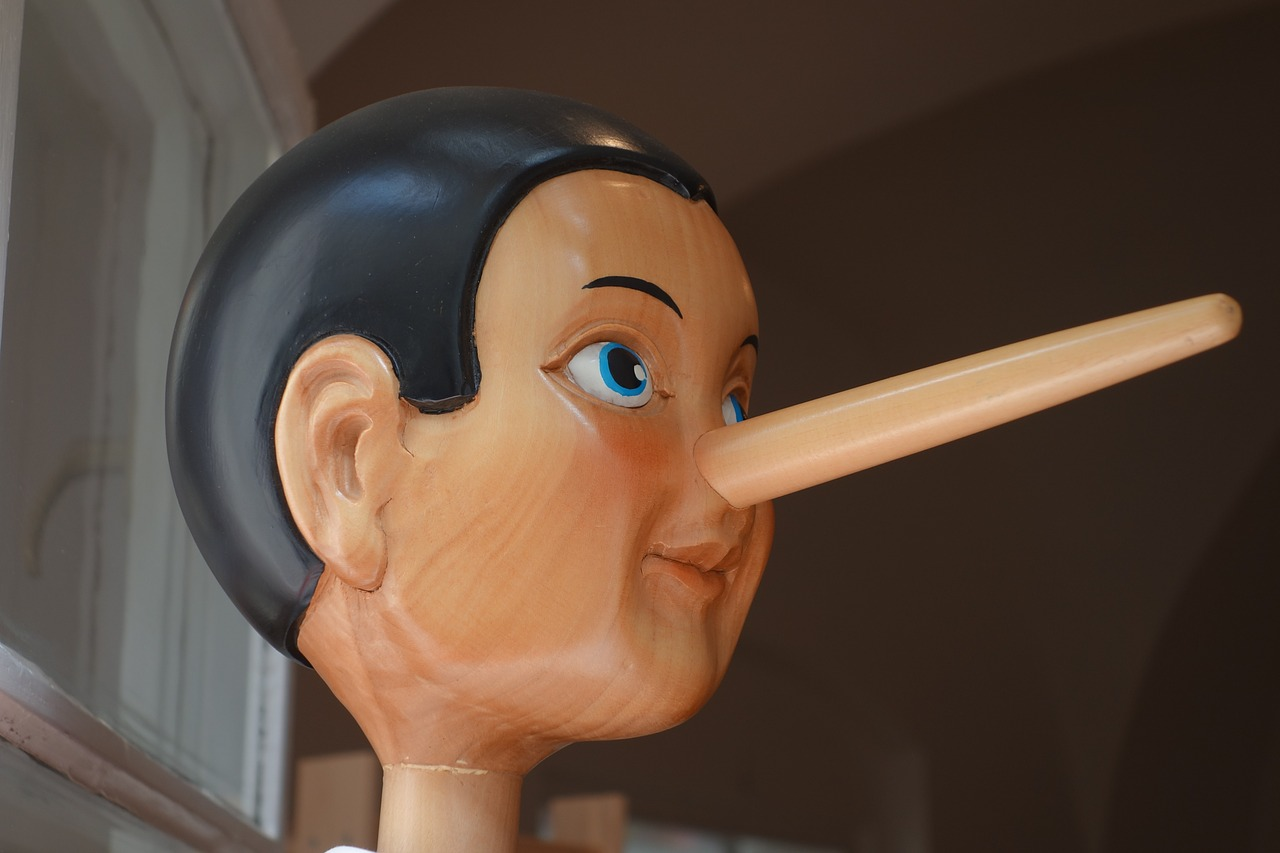 Pinocchio puppet with an extended nose