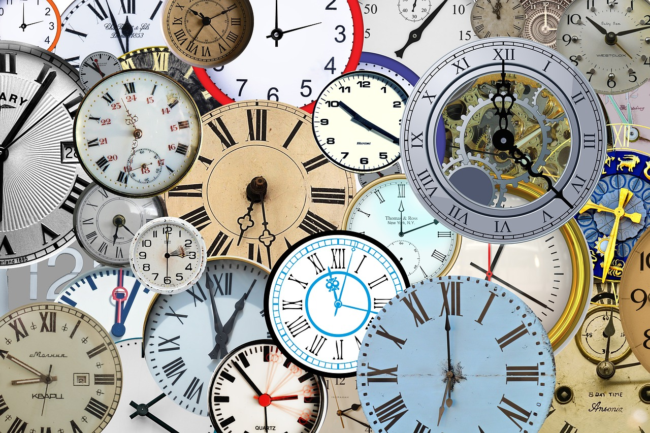 Collage of many clock faces