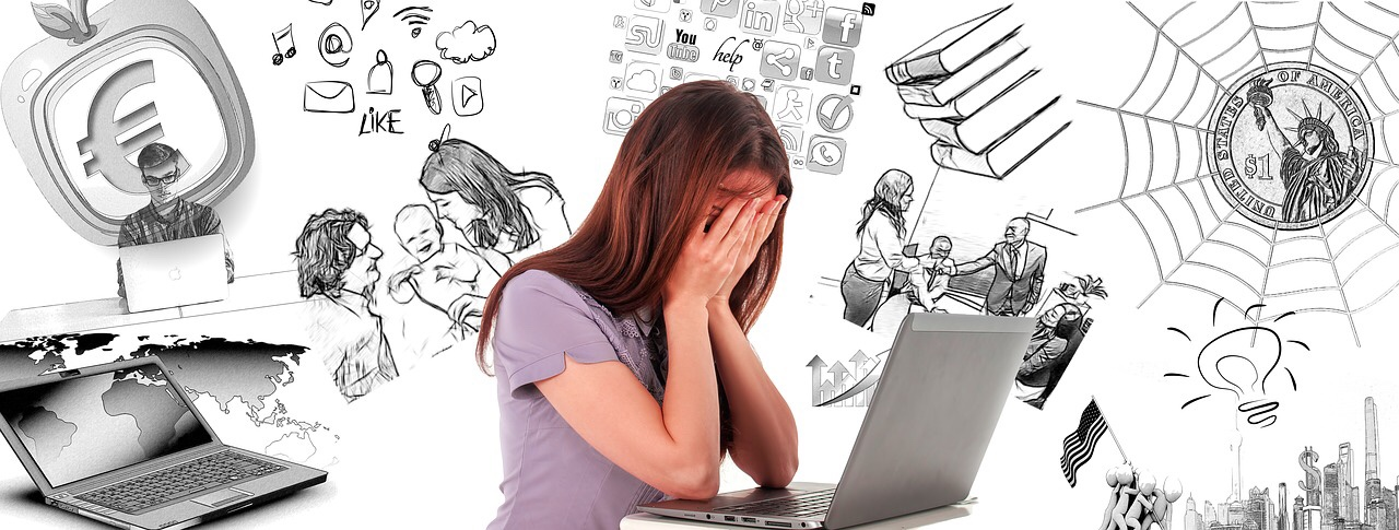 woman holding her face in her hands while sitting at a computer surrounded by doodles of books, friends, and family in the background