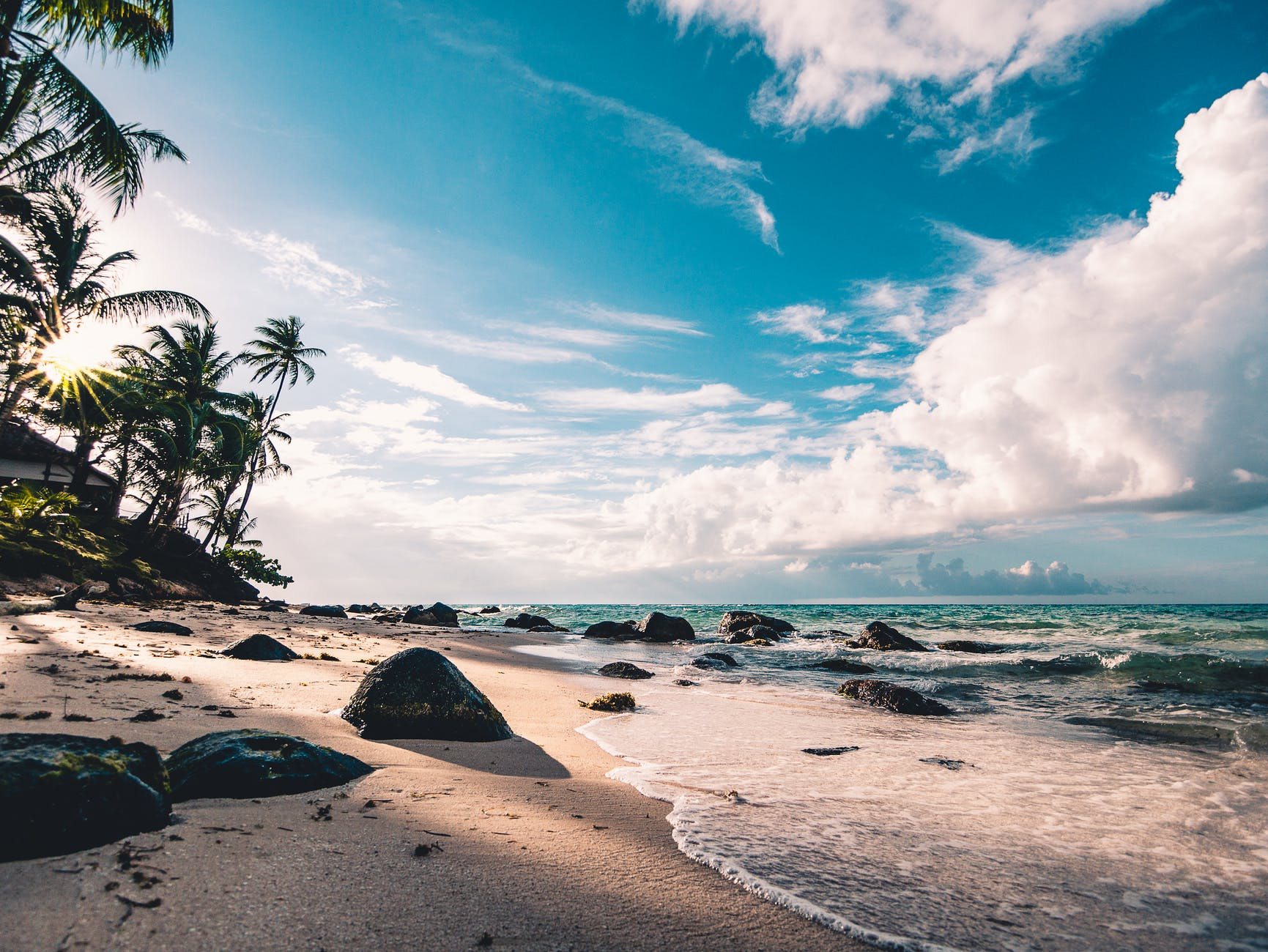 beach shoreline with the tide