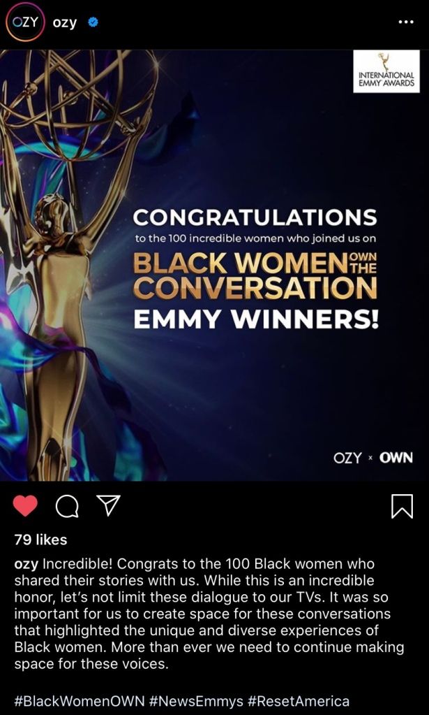 IG post of Emmy win for Black Women Own The Conversation